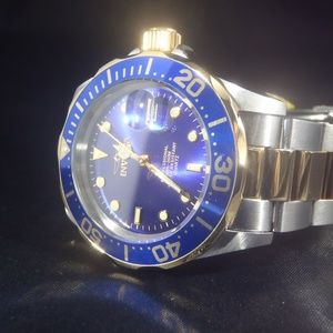 Invicta 40mm Pro Diver Two Tone Blue Dial Watch